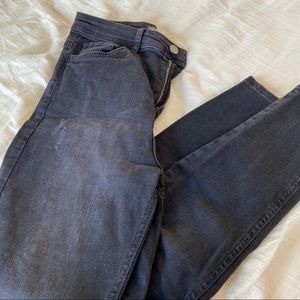 Zara black skinny jeans with distressed detailing